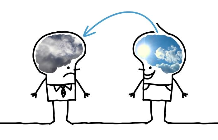 Cartoon Big Brain Man - optimistic and depressive